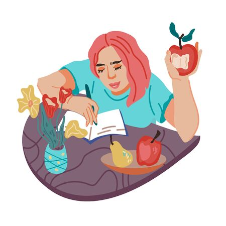 Woman, student or freelancer snacking and having a break for bite during work, flat vector illustration isolated. Girl cartoon character eating fruits. Eating at home and home office concept, vector.