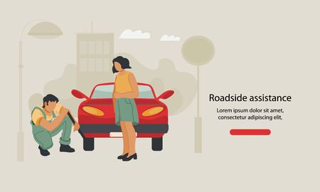 Web banner for car repair, roadside assistance or towing service with repairman replacing wheel. First aid after road accident or automobile breakdown landing page template. Flat vector illustration.
