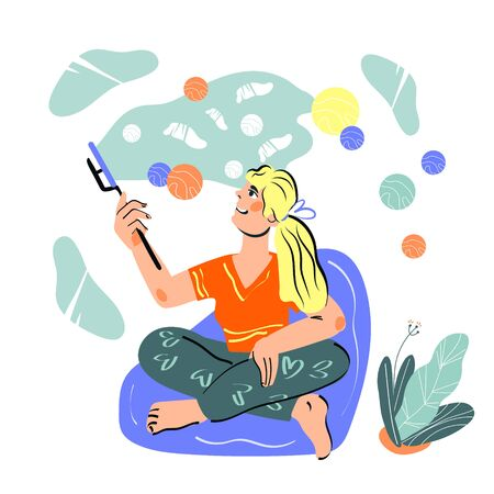 Live streaming and radio broadcast concept with woman cartoon character, blogger leading social media podcast. Interview and network radio transmission. Cartoon vector illustration.  イラスト・ベクター素材