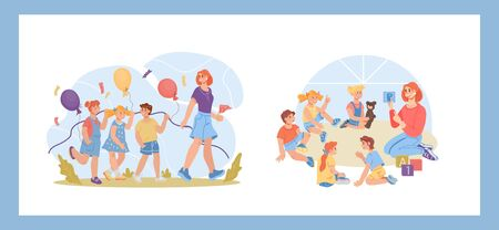 Set of kindergarten preschool scenes with children and teachers characters. Elementary school or nursery daycare center kids education and development collection. Flat vector illustration isolated. Фото со стока