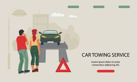 Car towing and repair service website banner template with people loading automobile on tow truck. Towage of transport from accident site and roadside assistance. Flat vector illustration. Vettoriali