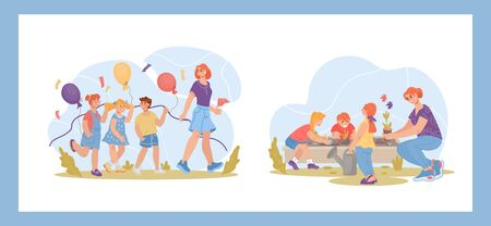 Set of kindergarten outdoor activity scenes with children and teachers characters. Elementary school or nursery daycare center kids walking and engaged in gardening. Flat vector illustration isolated.