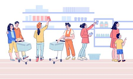 People in supermarket flat horizontal banner with people buying foods and goods. Shopping service in grocery store scene with men and women cartoon characters. Flat vector illustration.