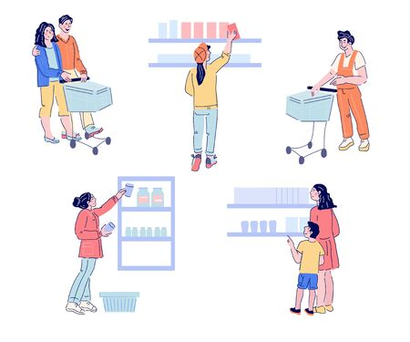 Set of people characters in supermarket buying foods and goods. Customers or buyers shopping in grocery store. Flat carton vector illustration. Vektorové ilustrace