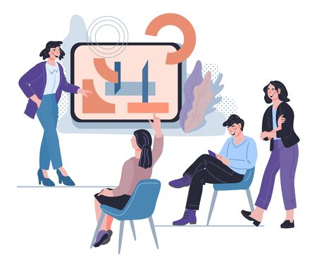 Business coaching banner with people near presentation board. Teamwork corporate education and skills courses. Goal setting in business training or webinar. Isolated vector illustration.
