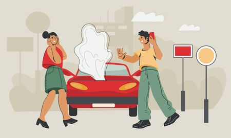 Car service and roadside assistance concept with woman in panic after road accident and man calling online support. Field car repair service. Flat vector illustration.