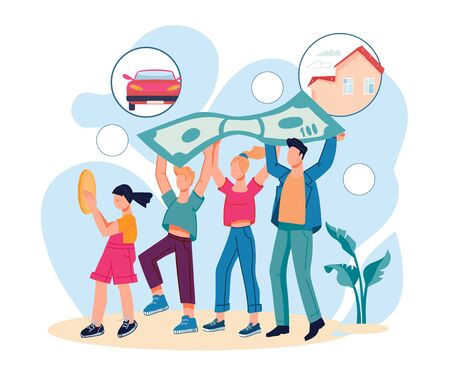 Family savings and money economy with parents and children carrying banknote. Bank saving program for family and private clients. Financial stability and growth. Cartoon vector illustration isolated.