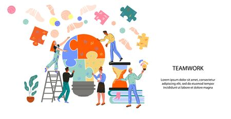 Landing page or website banner for teamwork and successful partnership vector illustration. Homepage design for company with characters of business people. Investments and creative inspiration. Ilustracja
