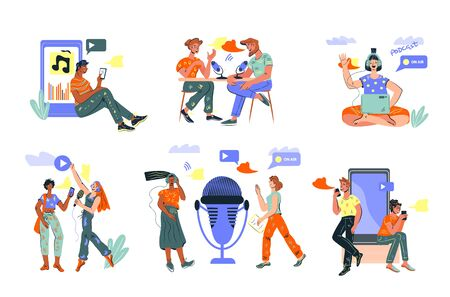 Social media blogging and online streaming set of people characters and network symbols. Viral content, podcast content makers and influencers. Vector isolated illustrations bundle.