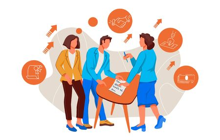 Business contract and partnership agreement signing scene with characters of men and women.Business meeting with people signing cooperation documents. Flat vector illustration isolated.