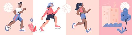 Marathon race banners or cards set with diverse running men and women and cityscape. Marathon or sprint sport event competition advert for healthy lifestyle concept. Flat cartoon vector illustration. 일러스트