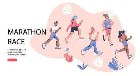 Marathon race banner template with group of running men and women wearing sportswear. Marathon race or sprint sport event competition advert, cartoon vector illustration in trendy style. 일러스트