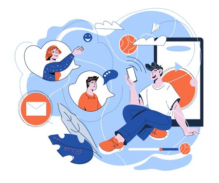Referral program and internet network marketing with people cartoon characters communicating in social media chat. Refer a friend and customers recommendation. Vector cartoon illustration isolated.  イラスト・ベクター素材