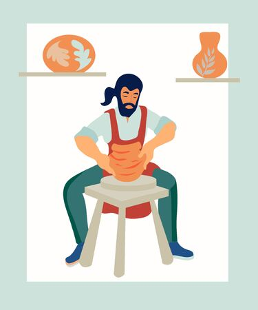 A male ceramist works at a potters wheel in a ceramic workshop flat vector illustration isolated on white background. The idea for the design of master classes and craft shops, as well as logos. Logos