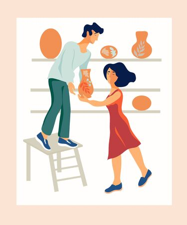 A man and a woman, employees of a pottery shop or a street shop arrange clayware flat vector illustration isolated. Design for ceramic master classes and shops of handicrafts.