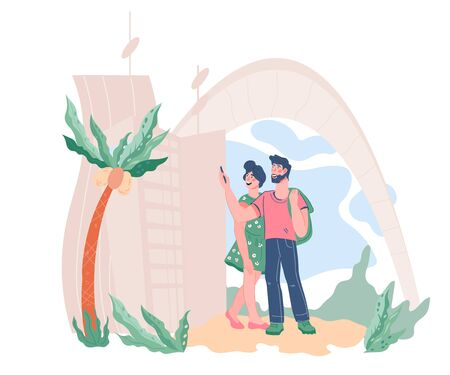 Tourists traveling couple making photo of modern town, flat vector illustration. Happy travelers cartoon characters sightseeing town architecture and local attractions.
