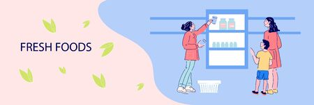 Flyer or advertising banner with buyers picking up fresh foods from supermarket grocery shelves, flat vector illustration. Food retail store background.