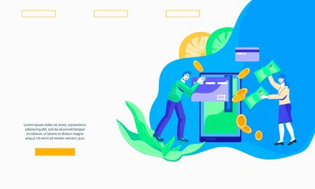 Website interface mockup for banking and credit card payment with people making money transactions online. Ecommerce technology landing page template. Flat vector illustration. 일러스트