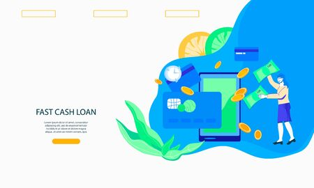 Fast cash loan and quick money transfer financial services web page template with cartoon character of woman near mobile phone. Credit approval or contract conclusion online concept, flat vector illustration.