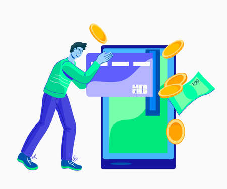 Online payment using mobile application concept with man character withdrawing cash and paying with cell phone. Online credit card and account money transfer. Flat vector illustration isolated.
