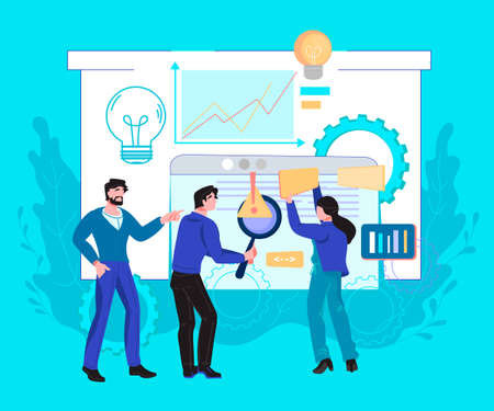 Business analytics banner concept with office workers are studying the infographic, flat vector illustration. Data analysis and strategy of company development, marketing research.