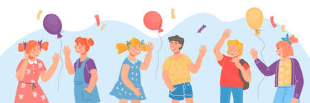 Banner for school or kindergarten grade year beginning with children waving hands in greeting gesture. Children saying Hi at backdrop of balloons and festive confetti. Cartoon vector illustration.
