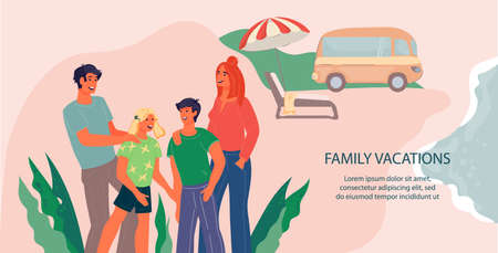 Family vacation, summer trip and car travel web banner template with happy family members characters. Summer adventure and camping rest, flat vector illustration. Vectores