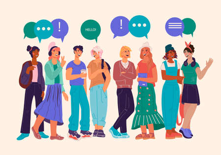 Multiracial young people group communicating and exchanging information, news. Banner with students or youth characters standing with speech bubbles above, flat illustration isolated.