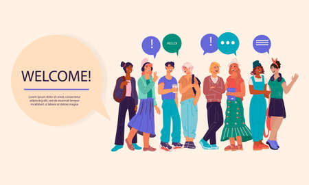 Welcome to university or college banner template with group of students. Back to school, college or university poster or cover teenagers on background, flat illustration.