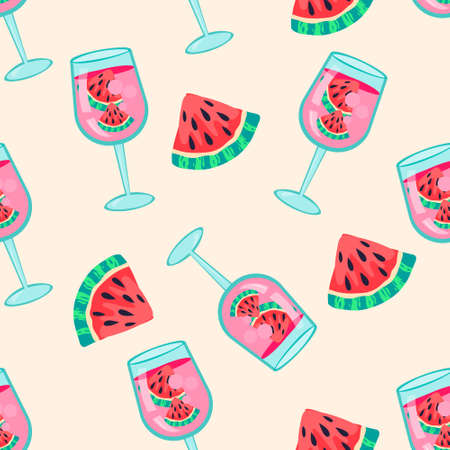 Summer seamless pattern with watermelon cocktail drink and slices. Endless design of summer bar fruit drink for prints and decoration, flat vector illustration. Ilustração