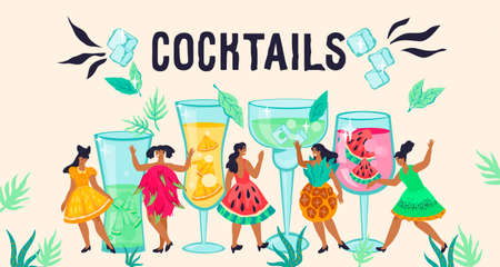 Banner for cocktail party and bar decoration with fancy women characters among huge fruit beverages.