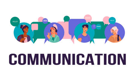 Communication and social network technology banner template with people avatars. Illustration