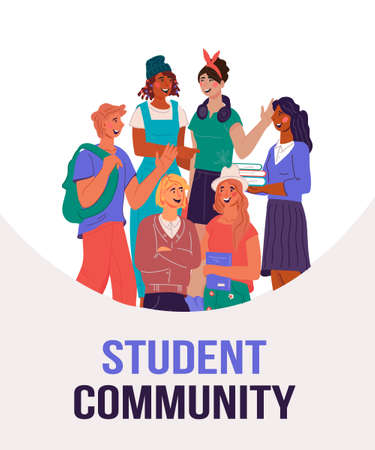 Student university community banner concept with young people standing together, flat vector illustration.