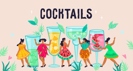 Cocktails banner or poster template with tiny young girls cartoon characters and glasses of fruit drink. Summer refreshment beverages and cocktails preparing, flat vector illustration ..