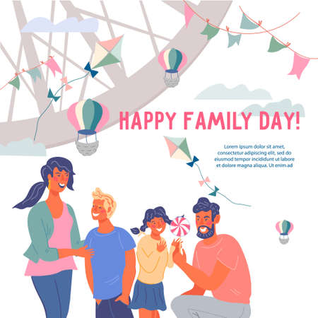 Family day greeting card or banner with cartoon characters of parents and children happy to be together. Card or poster template for family day celebration, flat vector illustration.