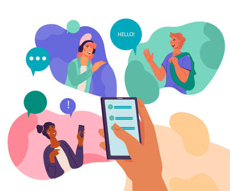 Banner of news and messages sharing online with text on smartphone screen and people avatars. Chat, social network, instant messaging, flat vector illustration isolated.