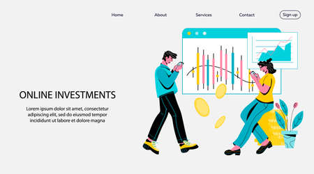 Online investments website or landing page mockup with people investing money in stock using smartphone and getting income. Internet online service for money investing, cartoon vector illustration.