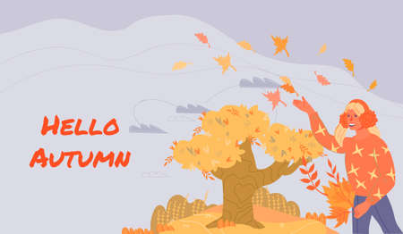 Hello autumn banner template with girl walking in autumn park, flat vector illustration. Autumn season greeting poster background with pretty young girl. Stock fotó - 155444591