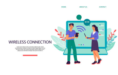 Remote connection wireless technology concept with people connecting together online and working on joint project, flat vector illustration. Website page mockup for remote working and freelancing.