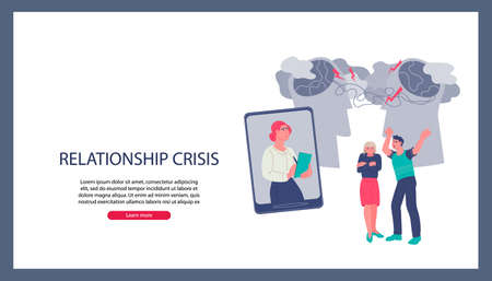 Online couple consultation of family psychologist website banner template. Resolve family conflict and couple relationship or marriage problem, flat vector illustration.