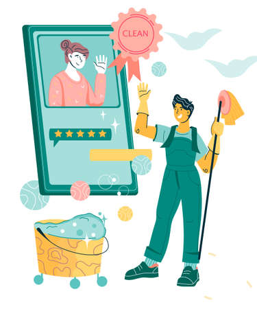 Cleaning company concept with man, company employee getting positive feedback from client for his service. Friendly smiling cleaning company staff, flat cartoon vector illustration.