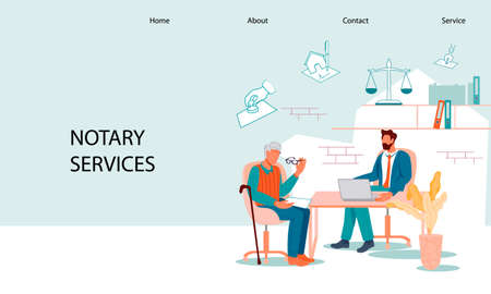Notary services web banner template with elderly man at notary appointment. Web page with senior person visit lawyer office for signing and legalization testament document, flat vector illustration.