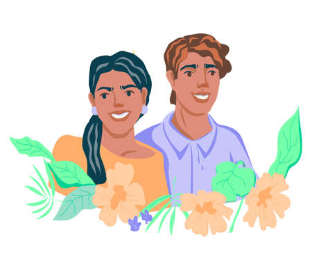 Happy smiling man and woman portrait in frame of flowers. Happy cheerful positive couple with attractive smiles, flat vector illustration isolated on white background.