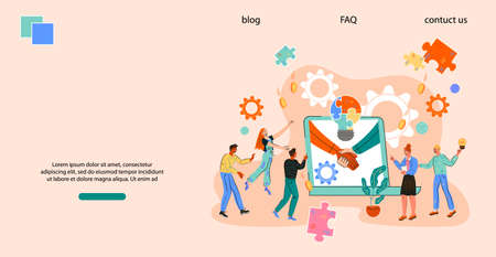 Website page or banner template with company team is engaged in joint project. Business concept of teamwork and successful cooperation, corporate negotiations and deal conclusion, flat vector.