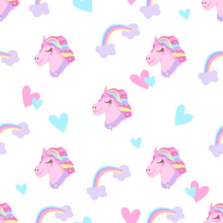 Unicorn seamless pattern design, flat vector illustration on white background. Unicorns with rainbow mane and horn on backdrop with hearts. Cute childish fantasy wallpaper with unicorn heads.