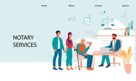 Website banner template for law firm and notary legal service. Notary advises clients and offers legal assistance to the elderly in inheritance and probate matters, flat vector illustration. Vektorové ilustrace