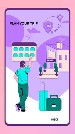 Onboarding screen for online hotel booking application. Accommodation reserving service mobile page template. Man using mobile app to order hotel for traveling, flat cartoon vector illustration.