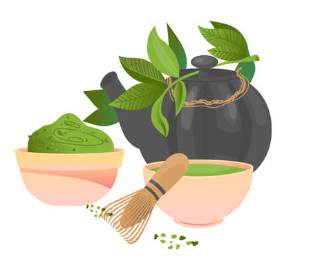 Tableware and leaves of matcha green tea drinking ceremony, flat vector illustration isolated on white background. Japanese or Chinese shredded matcha green tea leaves and cups of hot drink.