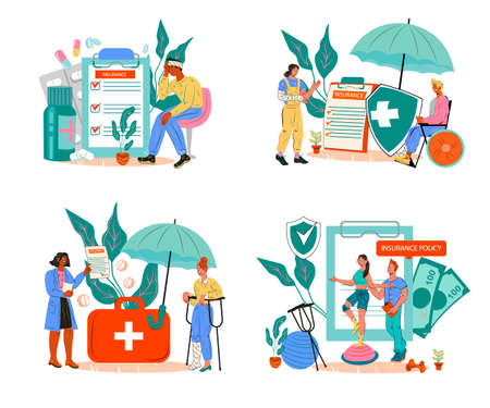 Set of banners for medical health insurance in case of trauma and injury healthcare concept. Covering of medical costs of rehabilitation, treatment and medications, flat vector illustration isolated.