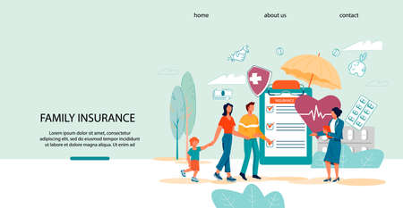 Family health and life insurance website template with happy family and insurance agent, flat vector illustration. Healthcare insurance policy and medical savings plan landing page interface.